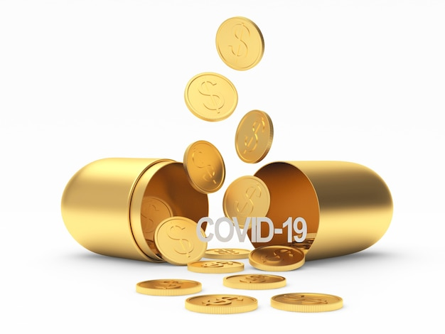 Открытая золотая медицинская капсула со значком covid-19 и падающими монетами