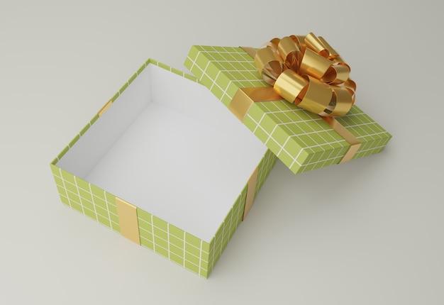 Открытый зеленый подарок с бантом на столе 3d визуализации