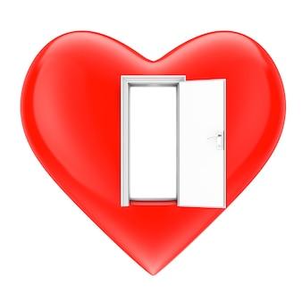 オープンハートコンセプト。白い背景の上の開いたドアとハート。 3dレンダリング。