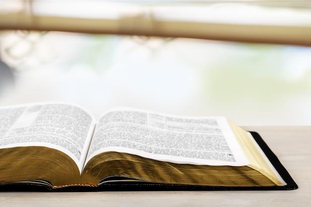 밝은 배경에 열린 성경 책