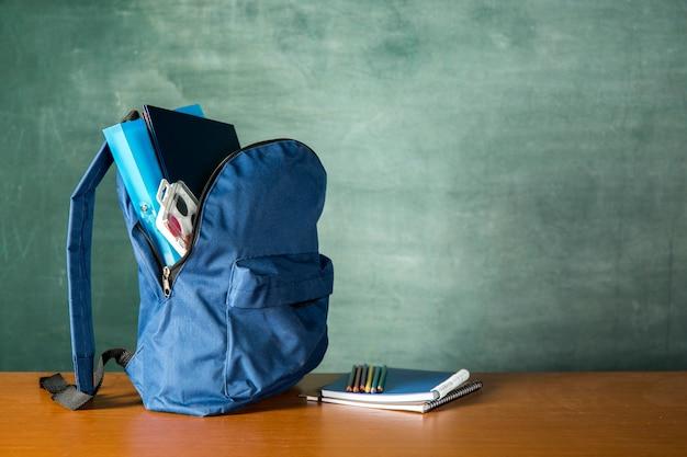 Открытый рюкзак с канцелярскими товарами и акварелью