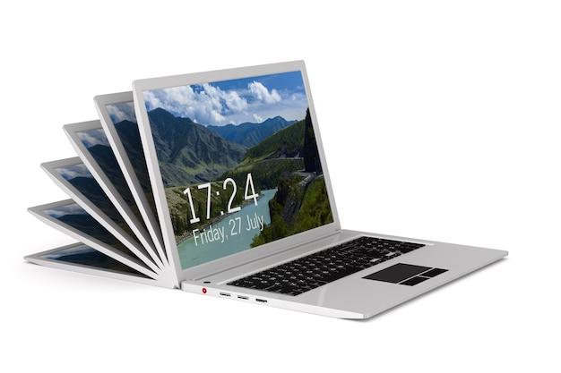 Открытый ноутбук. изолированный 3d-рендеринг