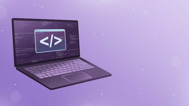 Открытый ноутбук с логотипом значка кодирования на экране 3d