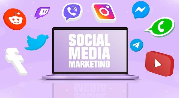 Открытый ноутбук с маркетингом в социальных сетях на экране и значками логотипа социальных сетей вокруг 3d