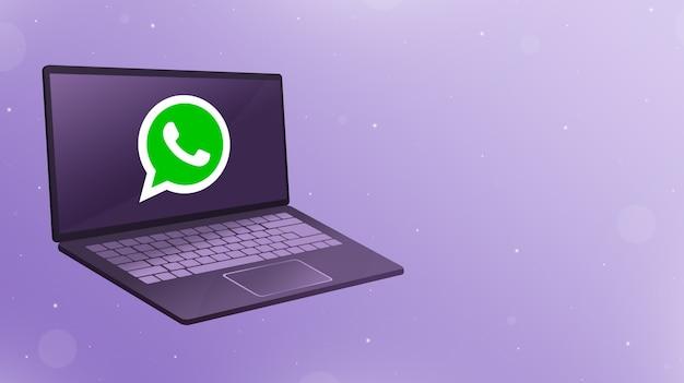 Открыть ноутбук с логотипом значка whatsapp на экране 3d