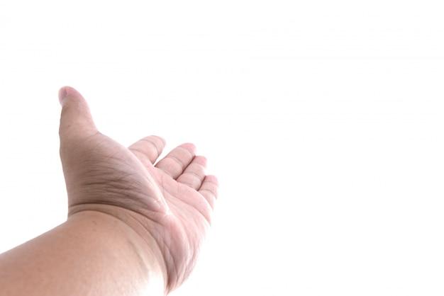 Open left hand of man