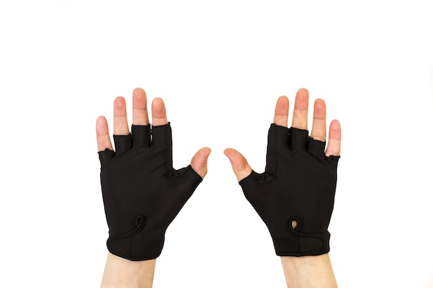 Open man hands with cycling gloves isolated on a white