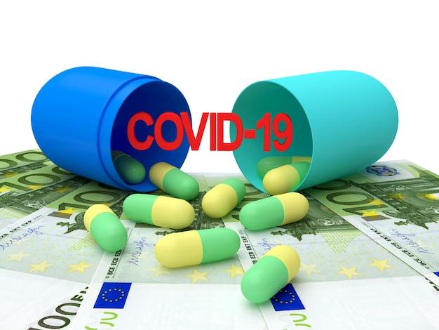 Открытые медицинские капсулы со значком conid-19 на банкнотах евро