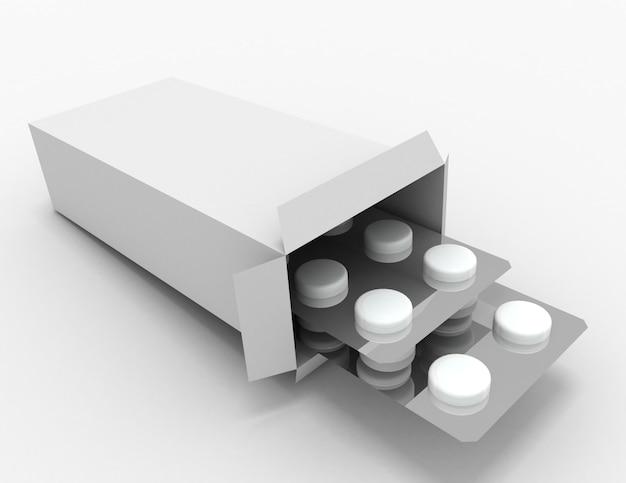 薬のパケットを開きます。 3dレンダリングされたイラスト