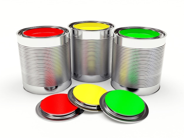 Open metal cans with colorful paints