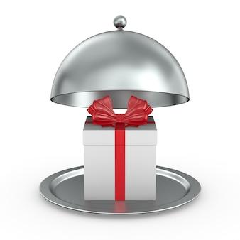 흰색 바탕에 붉은 활이 있는 금속성 cloche와 흰색 선물 상자를 엽니다. 격리 된 3d 그림