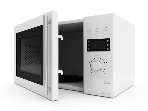 Open microwave oven isolated on white background