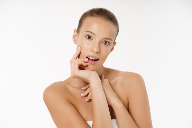 Open mouth woman fece healthy skin beauty concept
