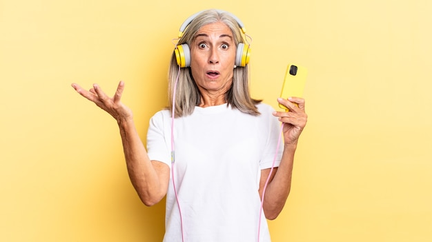 Open-mouthed and amazed, shocked and astonished with an unbelievable surprise with headphones