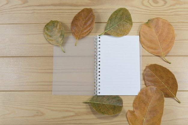 Open note book and brown leafs on wooden table.