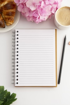 Open note book with copy space.