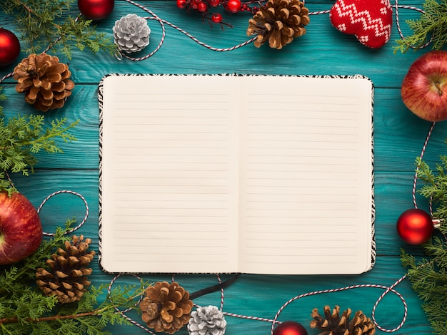 Open notebook on christmas