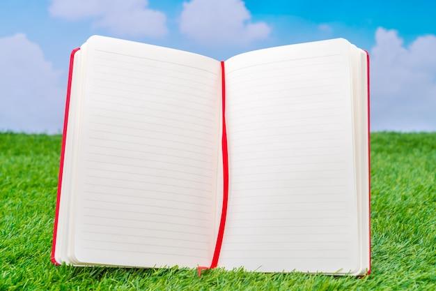 Notebook aperto in piedi sul prato