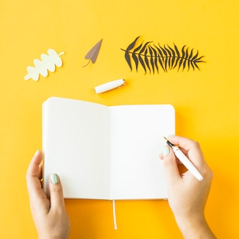 Open notebook with pen and paper leaves on a yellow background