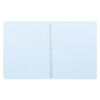 白い背景、モックアップ、コピースペースに分離されたメモ帳を開きます。
