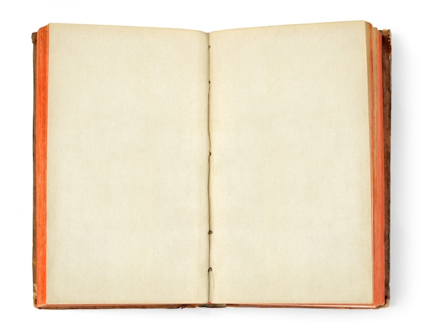 Open old book with blank off white pages isolated on white wall