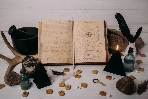 Open old book with magic spells, runes, black candle and herbs on witch table.