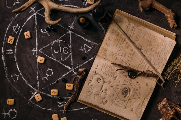 Open old book with magic spells, runes, black candles on witch table. occult, esoteric, divination and wicca concept. halloween scene