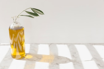 Open olive oil bottle with green twig