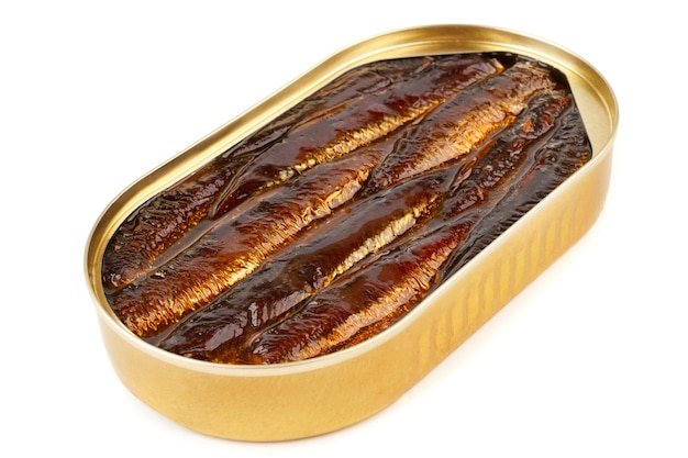 An open oval can of sprats in oil on a white backgroung