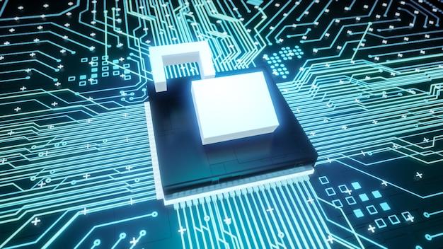 ハッキングされたコンピューターハードウェア内のマザーボード回路上の南京錠シンボルマイクロチップを開き、3dレンダリングリークデジタルデータ保護と低サイバーセキュリティビジネスコンセプトの背景