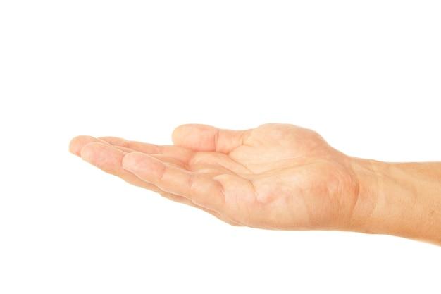 남성 손의 손바닥 손 제스처를 엽니다. 흰색 배경에 고립