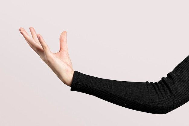 Open palm hand gesture presenting invisible hologram