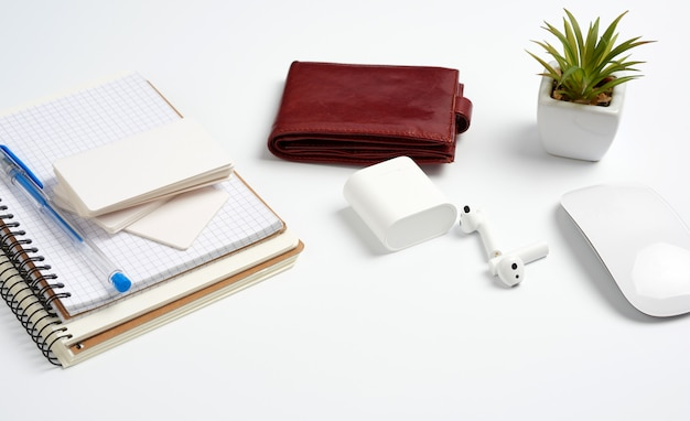 Open paper notebooks and pen, computer mouse and green plants in a flowerpot on a white table