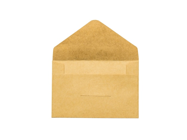 Открытый бумажный почтовый конверт, изолированные на белом фоне. плоская планировка.