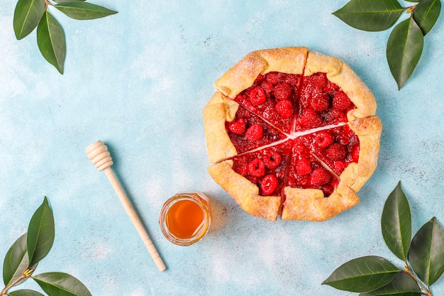 Open pie, raspberry galette. summer berry dessert.