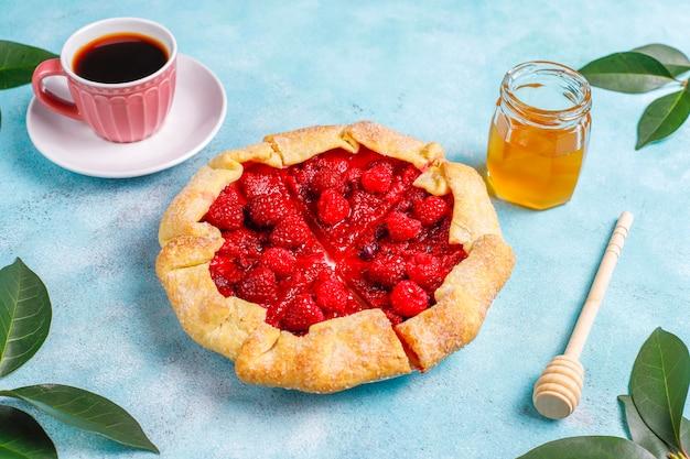 Open pie, raspberry galette.