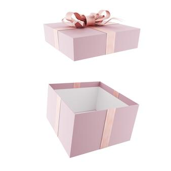 Раскройте розовую подарочную коробку с розовым бантом и лентами. 3d визуализация.