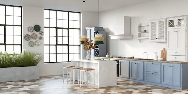 Open plan classic kitchen 3d render