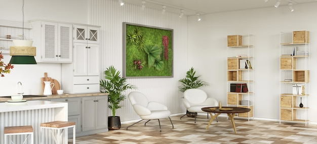 Open plan kitchen and living room with scandinavian moss on the wall 3d render