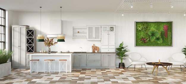 Open plan kitchen and livng room 3d render