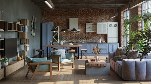 Open plan living room with kitchen in loft industrial style 3d render