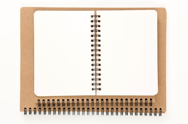 Open recycled ring binder notebook