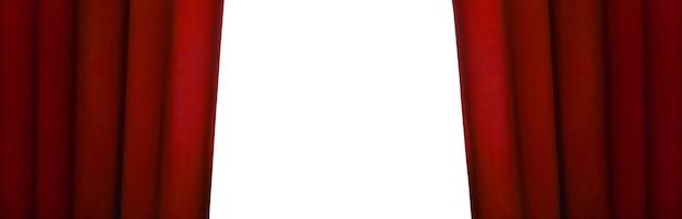 Открытый красный занавес, панорамное изображение макета с пространством для текста