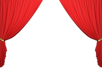 Open Red Curtains On White Background With Clipping Path