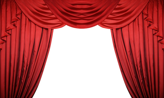 Open red curtains on white background. theater or movie presentation or cinema award announcement.