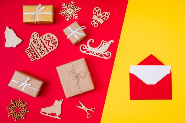Open red envelope and christmas gifts