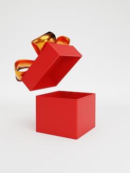 Откройте красную подарочную коробку с золотой лентой для юбилейного дня рождения, концепции с рождеством и новым годом, техники 3d-рендеринга.