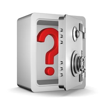 安全と質問を開きます。分離された3dレンダリング