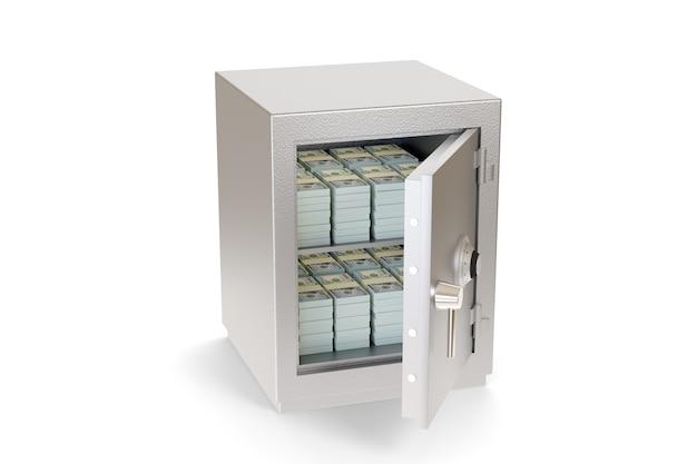 白で隔離された100ドル札の札束でいっぱいの金庫を開ける