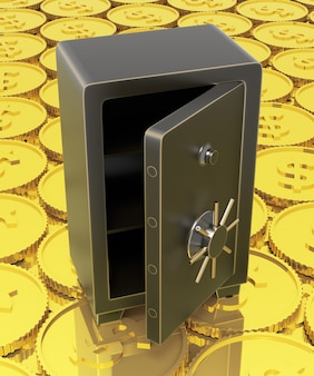 Open safe with a backgronud of gold dollar coins